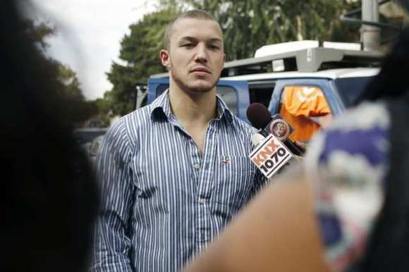 Beau Maxon is interviewed by media at a press conference regarding help for the victims of last week's electrocution accident in Valley Village on August 22, 2012. Maxon was a victim in the incident.