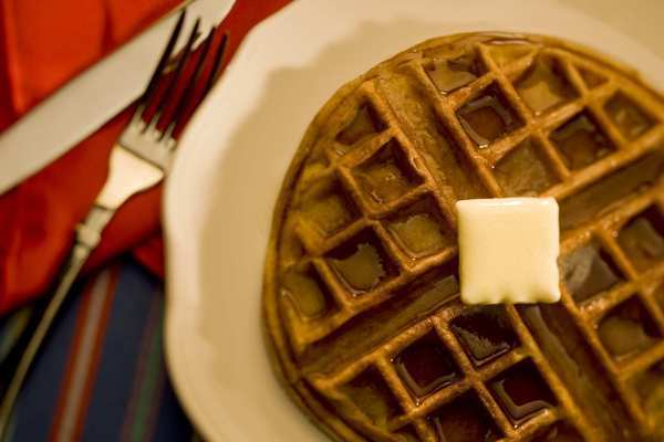 DIY waffles are often options in hotel breakfasts.