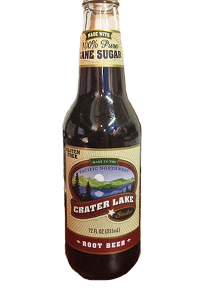 A bottle of Crater Lake Root Beer.