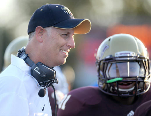 Kutztown head coach Raymond Monica is on the sidelines during the team's football game against St. Anselm held at Kutztown University on Thursday.
