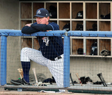 Scranton/Wilkes-Barre Yankees Manager Dave Miley has been named the 2012 International League Manager of the year, watches the first inning against the Lehigh Valley IronPigs from the dugout in Coca-Cola park in Allentown Thursday night.
