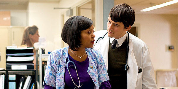 "Taraji P. Henson and Orlando Bloom in ""The Good Doctor."""