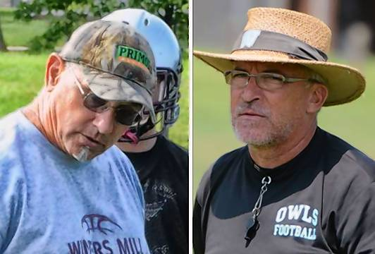Winters Mill head football coach Ken Johnson, left, and Westminster Owl head coach Brad Wilson.