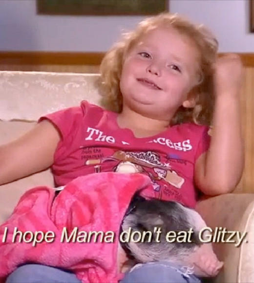 Summer TV Surprises 2012: We didn't see this coming: When Honey Boo Boo decided that her male pet pig, Glitzy, might be gay, her sister Pumpkin (so named because she has pumpkin goosh in her head instead of brains, I assume) was appalled. It aint gon be gay, drawled Pumpkin. It was her best attempt at a sentence in the entire season, so yay for Pumpkin.  It can if it want to, Honey Boo Boo Child replied defensively. You cant tell that pig what to do!  How very enlightened for a six-year-old whose best friend is her pregnant sisters unborn fetus. Honey Boo Boo, six-year-old Pig Rights Activist, there may be hope for you yet.   --Carina Adly MacKenzie, Zap2it