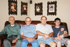 Five generations of the Ulmer family recently gathered. From left are great-great-grandfather Rupert Ulmer, great-grandfather Darwin Ulmer, both of Hosmer; grandfather Brad Ulmer of Watertown; and father Mark Ulmer holding son Evan Ulmer, both of West Fargo, N.D.