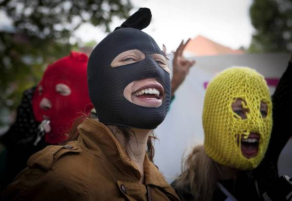 Activists demonstrate to support the Russian punk band Pussy Riot in front of the Russian Embassy in The Hague. They demanded the Dutch government talk to the Russian Ambassador to set the members of Pussy Riot free. A Moscow judge, on 17 August, handed down prison sentences of two years for three young women who staged a protest against Vladimir Putin in the Cathedral of Christ the Savior last February and whose jailing and trial on hooliganism charges have generated worldwide criticism of constraints on political speech in Russia.