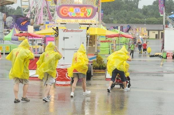 Visitors to the Maryland State Fair were shooed away by heavy rains on Sunday.