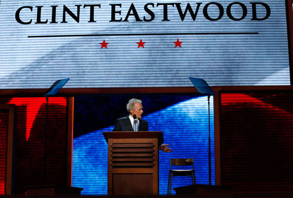 Actor Clint Eastwood addresses an empty chair and questions it as if it were President Barack Obama.