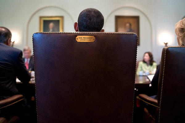 Photo tweeted by President Barack Obama with the caption 'This seat's taken.' (Twitter)