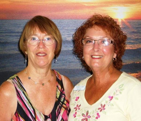 "Babara Gutuskey (right) is the newly president of the Women,""s Club. Outgoing president is (left) Carolyn Whittle."