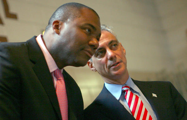 CPS CEO Jean-Claude Brizard visits a Chicago school with Mayor Rahm Emanuel in 2011.