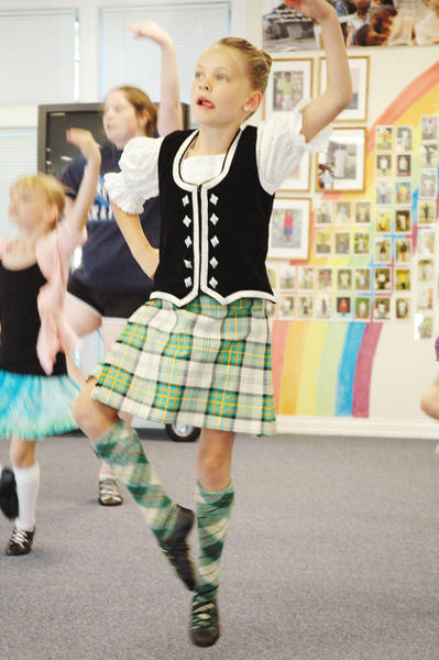 Noel Nelson, 7, of Harbor Springs, dances during practice Tuesday in advance of the fifth annual Harbor Springs Highland Fling on Saturday, Sept. 1, in Bay View.