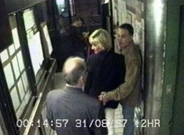 Princess Diana and Dodi Fayed, right, are shown in Paris in video footage taken shortly before they entered the car that crashed while being pursued, killing them.