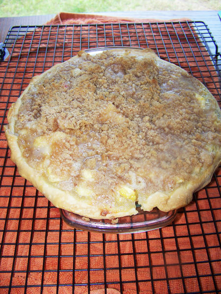 In addition to eating out of hand, peaches can be used in a variety of recipes. The crumb topped peach pie, seen here, mixes fresh peaches with a crumbly topping.