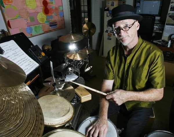 Percussionist-composer Brad Dutz in his Tujunga home. Dutz will perform with his group The Other Three at the Eagle Rock Center on Sept 2.