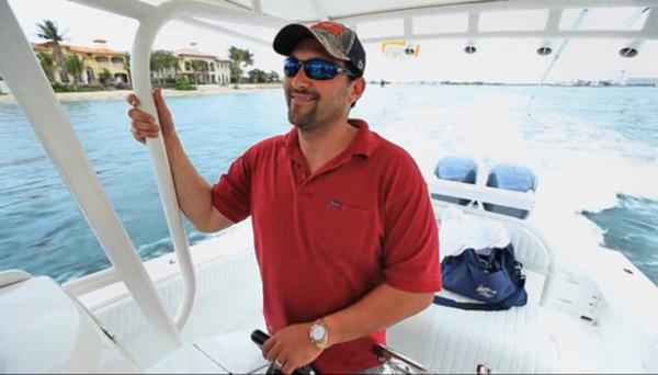 Fort Lauderdale multimillionaire Guma Aguiar, who has been missing since June 2012, goes out on his boat in this photo from video footage taken by filmmaker Jerry Levine.