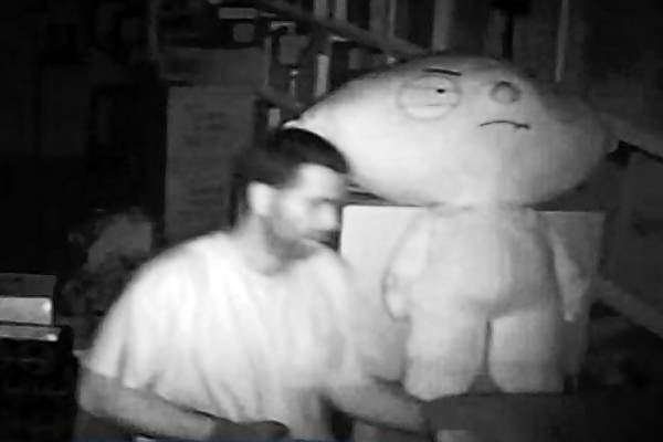 "A suspected burglar shown walking past a plush toy figure of ""Stewie"" from the Fox cartoon ""Family Guy"" allegedly stole thousands of dollars worth of Walt Disney items and other collectibles from a West Rockhill Township in August. Contact Pennridge police with information at 215-257-5104 or dlewis@pennridgepd.org."