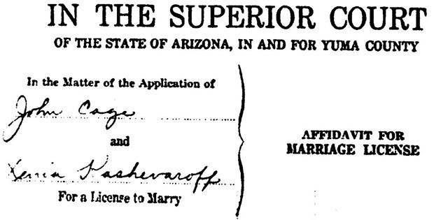 Caption: Marriage license between John Cage and Xenia Andreyevna Kashevaroff June 7, 1935 in Yuma, Arizona. (John Cage Trust)