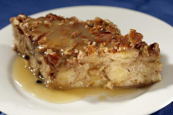 Sweet potato bread pudding with rum sauce from Zea Rotisserie and Grill in New Orleans.