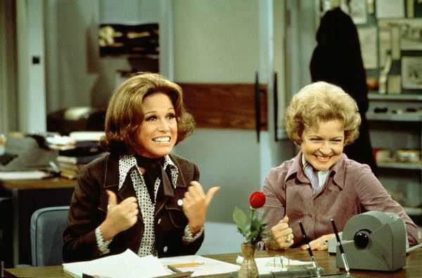 "Mary Tyler Moore as Mary Richards, left, and Betty White as Sue Ann Nivens on ""The Mary Tyler Moore Show"" in 1975."