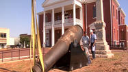 Two cannons once used in battle are loose no longer.
