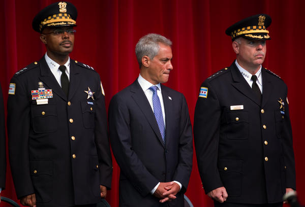 From left, Chicago Police First Deputy Superintendent Al Wysinger, Mayor Rahm Emanuel and Police Superintendent Garry McCarthy at a Chicago Police Department promotion ceremony at Navy Pier.