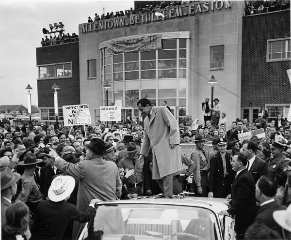Richard Nixon greets the crowd at ABE Airport in this undated photo. The photo was donated by Wiley Post from the archives of the Airport Authority. The original photo print is now in the archive of the Lehigh County Historical Society.