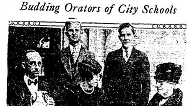 Caption: John Milton Cage, Jr., and John H. Gregg: below, William R. Roalfe, Miss Katherin Welborn and Superintendent of Schools Dorsey in a photo that appeared in the Los Angeles Times on December 22, 1927.  (Los Angeles Times)