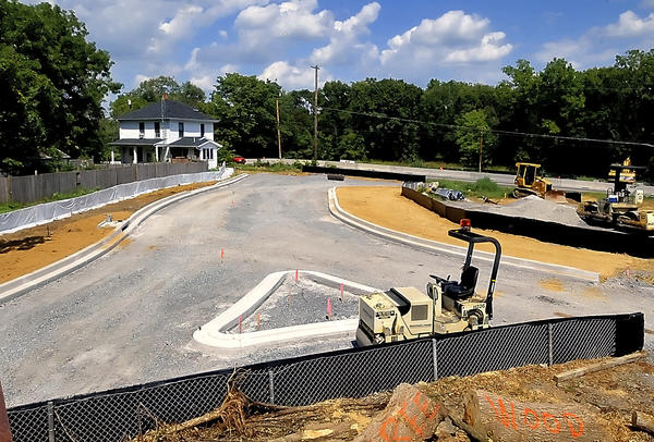 The first phase of the roundabout at Poffenberger Road and Alt. 40 is shown on Wednesday.