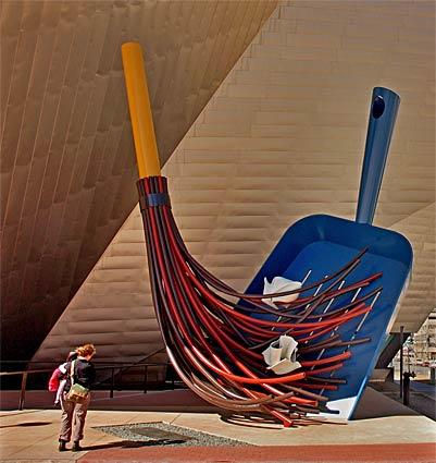 "Standing 35 feet, ""The Big Sweep"" by Coosje van Bruggen and Claes Oldenburg offers a whimsical welcome to visitors to the Denver Art Museum's shiny, $110-million Hamilton building, which opened in 2006."