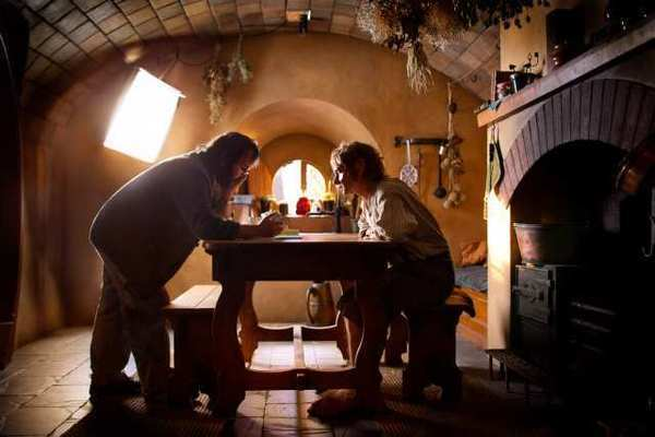 "Peter Jackson with Martin Freeman on the set of ""The Hobbit: An Unexpected Journey."""