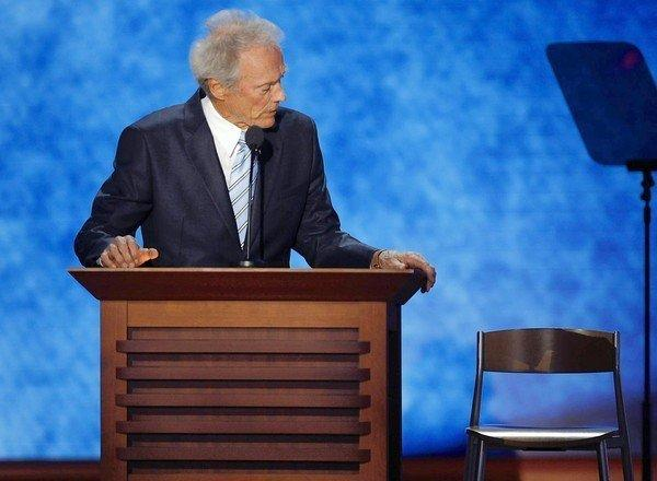 Clint Eastwood talks to an empty chair representing President Obama during a rambling monologue at the Republican National Convention.