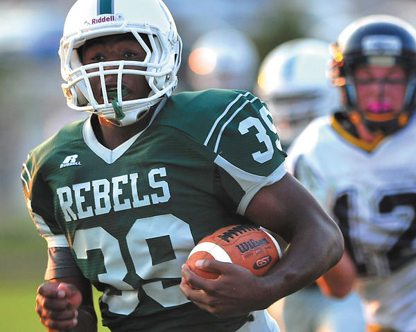 South Hagerstown's Isiaha Smiths scores the first of his three touchdowns Friday night against Berkeley Springs.