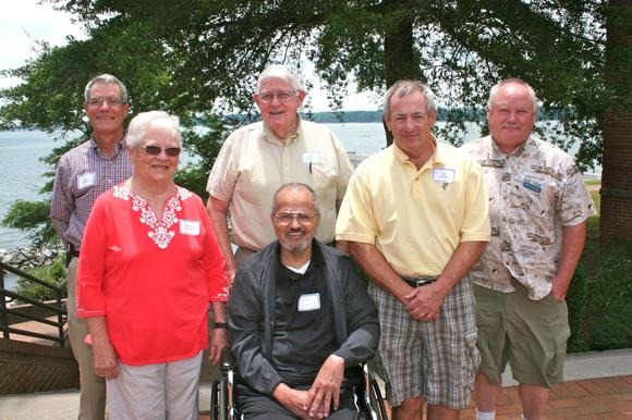 Leading members of the Tidewater Oyster Gardeners Association paused for a picture during a recent refresher course at VIMS. From L: TOGA president David Turney; president emeritus Jackie Partin; past presidents Ray Hook, Chan Chandler, and Vic Spain; and vice president Brian Wood.