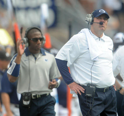 Penn State Nittany Lions head coach Bill O'Brien near the end of the game against the Ohio Bobcats at Beaver Stadium in University Park on Saturday.
