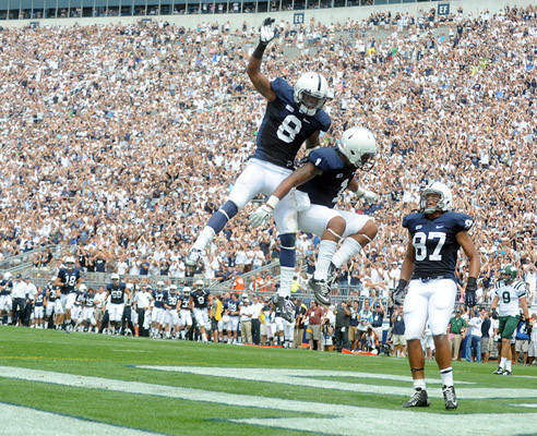 Penn State Nittany Lions running back Bill Belton (1) celebrates his touchdown wit Penn State Nittany Lions wide receiver Allen Robinson (8) and Penn State Nittany Lions wide receiver Evan Lewis (37) as Penn State plays Ohio at Beaver Stadium in University Park on Saturday.