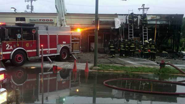A fire in a strip mall on the 1800 block of South Kostner Avenue.