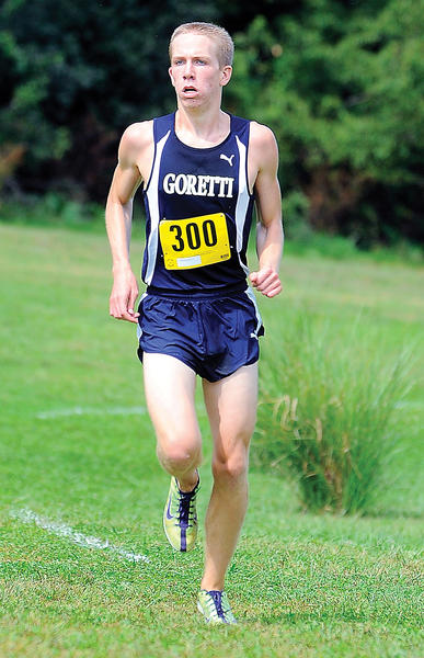St. Maria Goretti's Luke Daigneault runs to a second-place finish in the small-school boys race at the Interstate Classic at Clear Spring on Saturday.