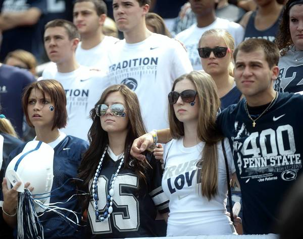 The student section during a moment of silence before the Penn State Nittany Lions played the Ohio Bobcats at Beaver Stadium in University Park on Saturday.