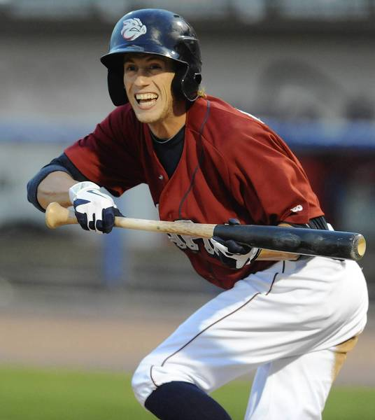 IronPigs' Kyle Hudson tries for a bunt against Buffalo on Saturday night at Coca Cola Park in Allentown.