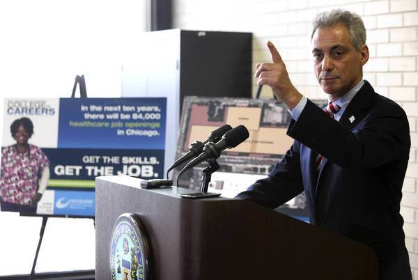 Mayor Rahm Emanuel announced in February a $479 million, five-year plan to retool City Colleges of Chicago with each campus focusing on a job sector and school officials working with employers to help prepare students.