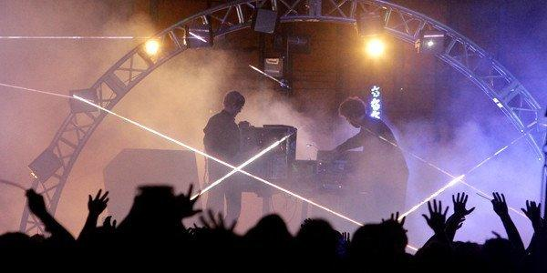Jas Shaw, left, and James Ford of the electronic music duo Simian Mobile Disco perform on the first day of FYF Fest.