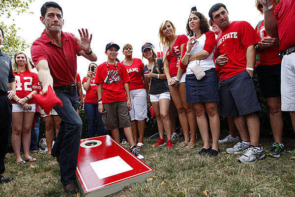 Republican vice presidential candidate Rep. Paul Ryan plays cornhole during a tailgate party at the Ohio State University-Miami University of Ohio football game at Ohio Stadium in Columbus, Ohio.