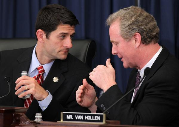 From left, Reps. Paul Ryan, Republican of Wisconsin, and Chris Van Hollen, Democrat of Maryland, during a hearing before the House Budget Committee.