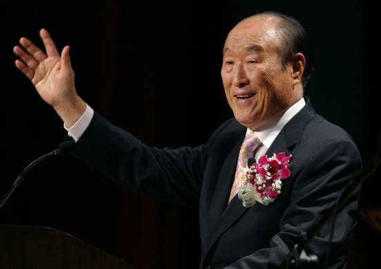 "The Rev. Sun Myung Moon speaks during his ""Now is God's Time"" rally in New York."