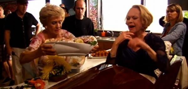 "Cloris Leachman and Tippi Hedren on the set of ""Raising Hope."""