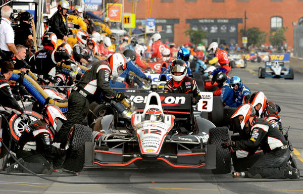 This late pit stop might have cost Will Power the race; he pitted for intermediate rain tires but no rain came.