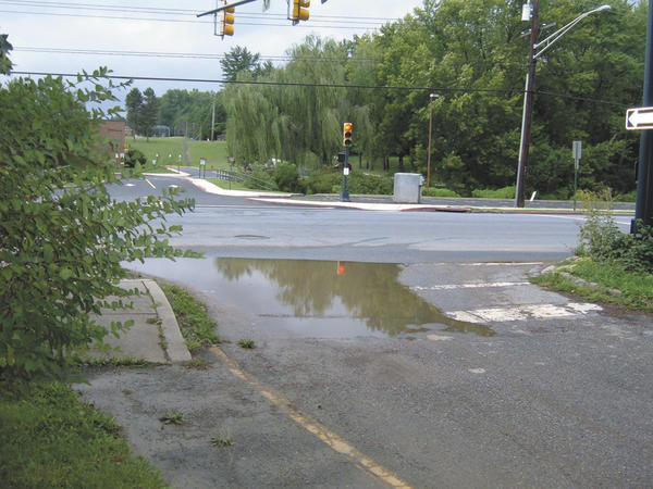 Water pools at the end of Lauran Road in Hagerstown, where it meets Northern Avenue.