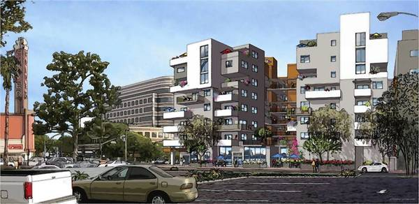 The apartment and retail complex at 9901 Washington Blvd. in Los Angeles, across the street from Culver City, will be known as NMS@Culver City. The apartments are scheduled to open in spring 2014. Above, a rendering of the completed project.