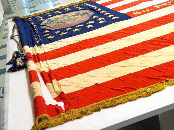This flag was used by the 83rd Pennsylvania Infantry, which hailed from Erie County, Venango County, Crawford County, Warren County, N.J. and Mercer County, Pa.